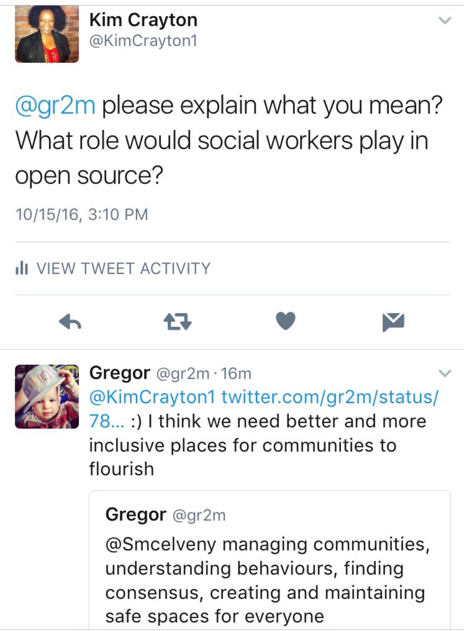 """Twitter thread with @KimCrayton1 asking @gr2m for clarification and @gr2m responding with """"I think we need better more inclusive places for communities to flourish"""